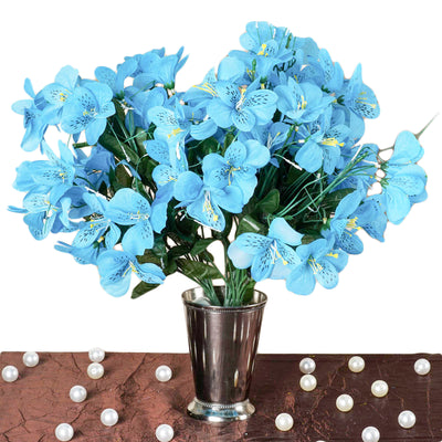 144 Artificial Silk Amaryllis Flowers - Turquoise