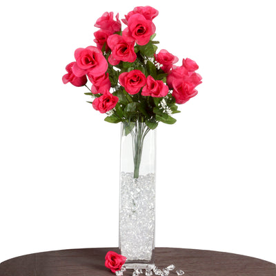 4 Bushes | 96 Pcs Fushia Artificial Rose Silk Flowers | Real Touch Wholesale Fake Flowers