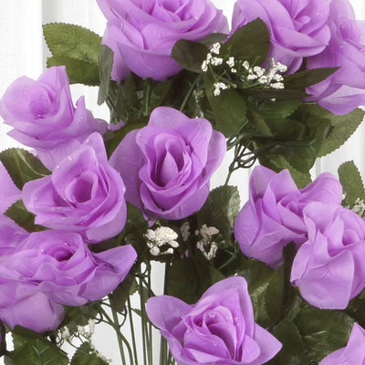 4 Bushes | 96 Pcs Lavender Artificial Rose Silk Flowers | Real Touch Wholesale Fake Flowers
