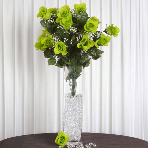 4 Bushes | 96 Pcs Lime Green Artificial Rose Silk Flowers | Real Touch Wholesale Fake Flowers