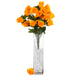 4 Bushes | 96 Pcs Orange Artificial Rose Silk Flowers | Real Touch Wholesale Fake Flowers