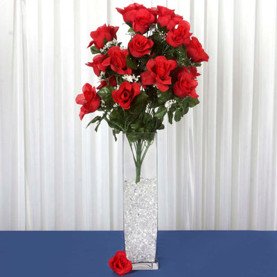 4 Bush 96 pcs Red Artificial Large Rose Bud Flowers
