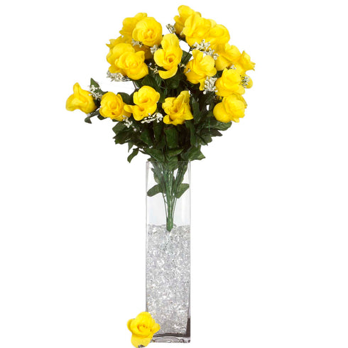 4 Bush 96 pcs Yellow Artificial Large Rose Bud Flowers