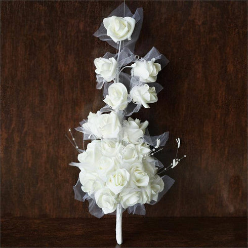 Hand-crafted Bouquet of Roses - Cream