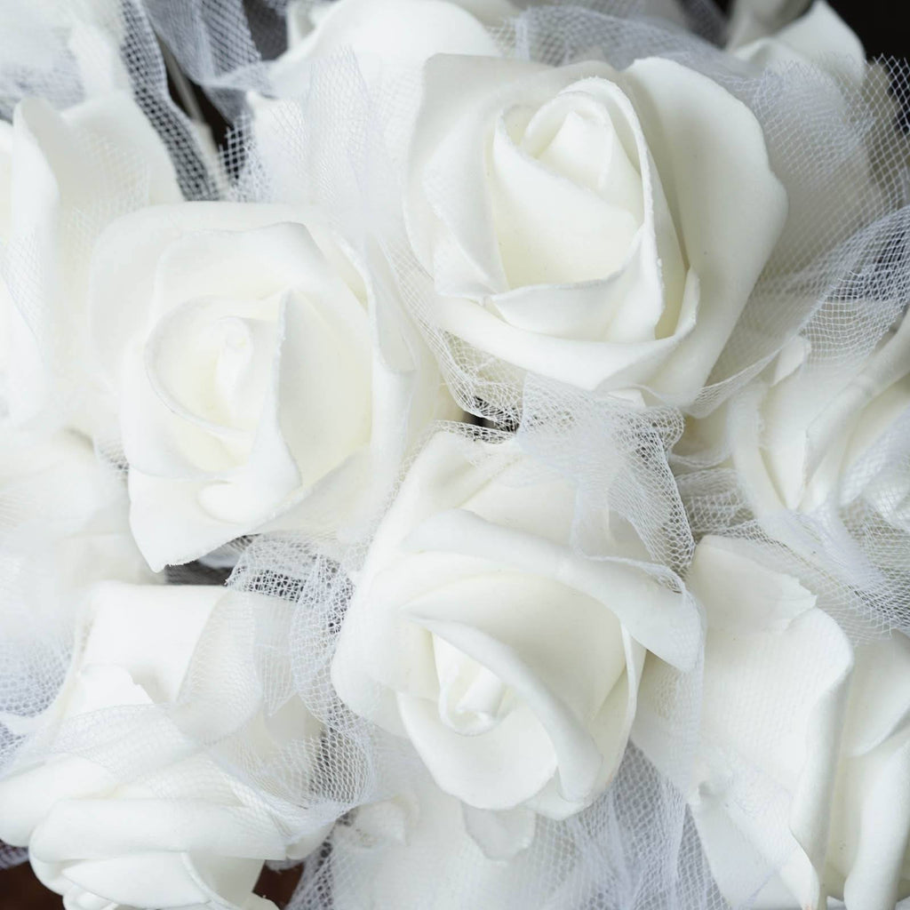 Hand-crafted Bouquet of Roses - White