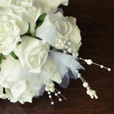1 Pack Cream Artificial Handcrafted Open Roses Flower Bridal Bouquet