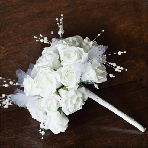 9 Handcrafted Open Roses Bridal Bouquet Wedding Vase Centerpiece Decor - White
