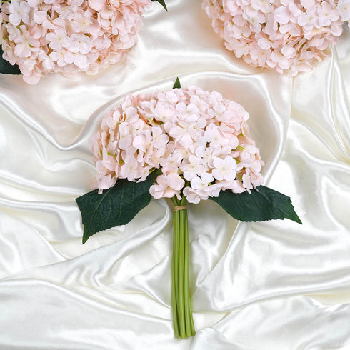 4 Pack Blush | Rose Gold Artificial Silk Hydrangea Flowers