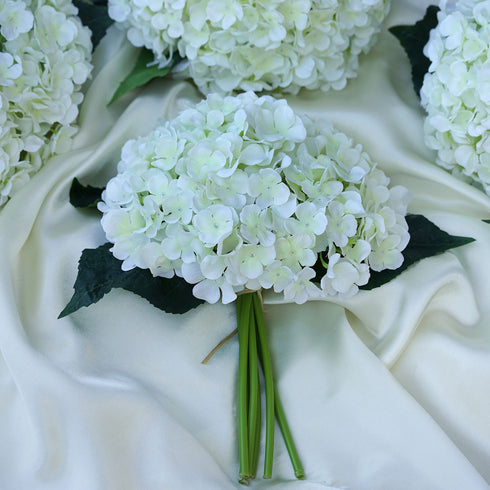 4 Pack Cream Artificial Hydrangea Flower Bridal Bouquet