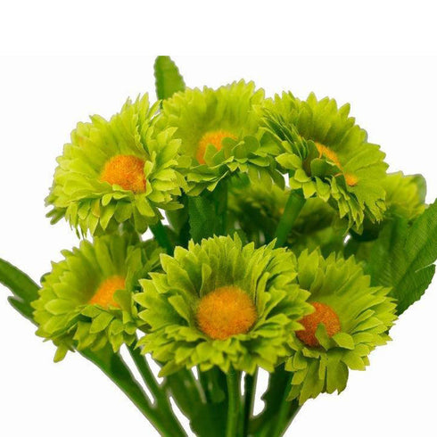 108 Artificial Silk Daisy Flowers - Lime