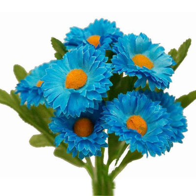 108 Artificial Silk Daisy Flowers - Turquoise