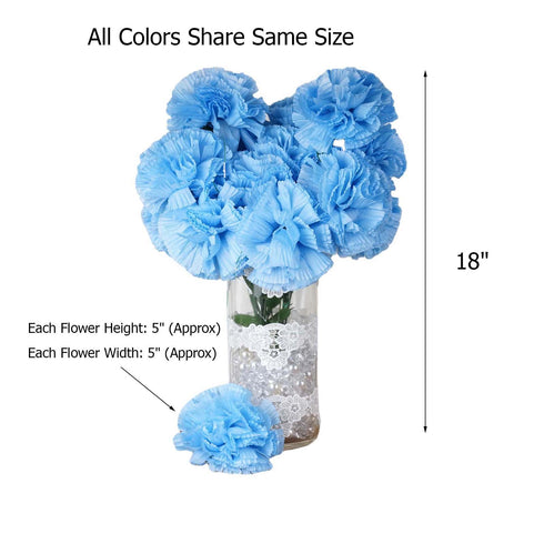 4 Bush 36 Pcs New Blue Artificial Giant Silk Carnation Flowers