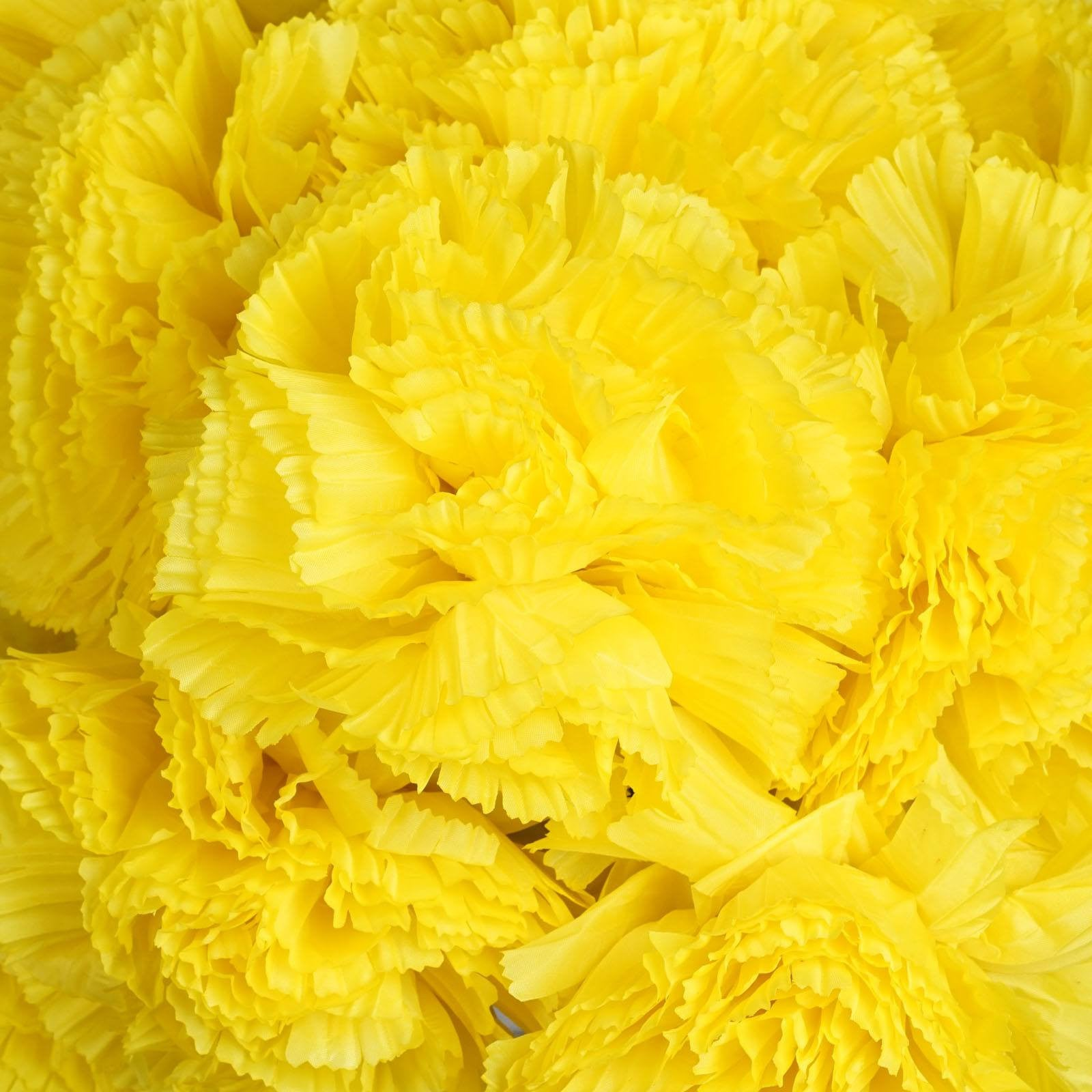 36 Artificial Yellow Giant Carnation Flowers Wedding Bridal Bouquet
