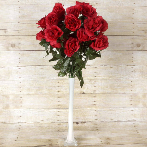 96 Artificial Giant Silk Open Roses Wedding Flower Vase Centerpiece Decor - Black/Red