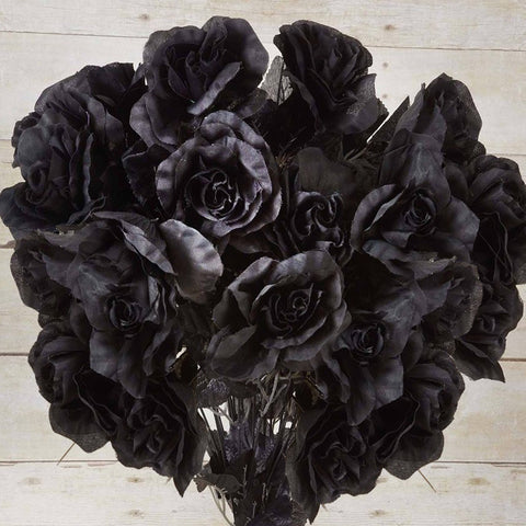 96 Artificial Giant Silk Open Roses Wedding Flower Vase Centerpiece Decor - Black