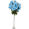 4 Bush 96 Pcs Light Blue Artificial Giant Silk Open Rose Flowers