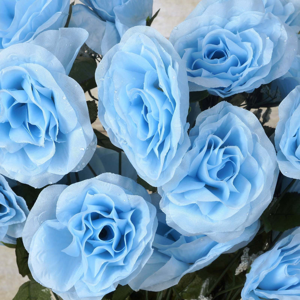 96 GIANT Silk Open Rose - Light Blue
