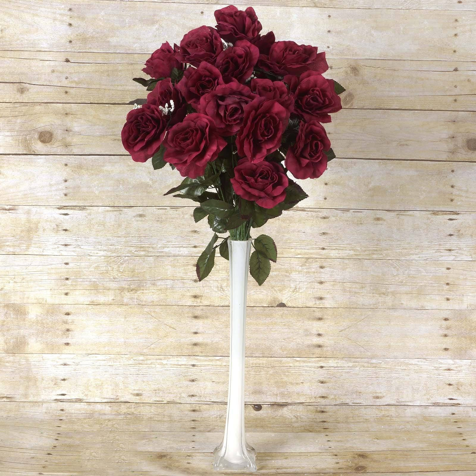 96 Artificial Burgundy Giant Silk Open Roses Wedding Bridal Bouquet ...