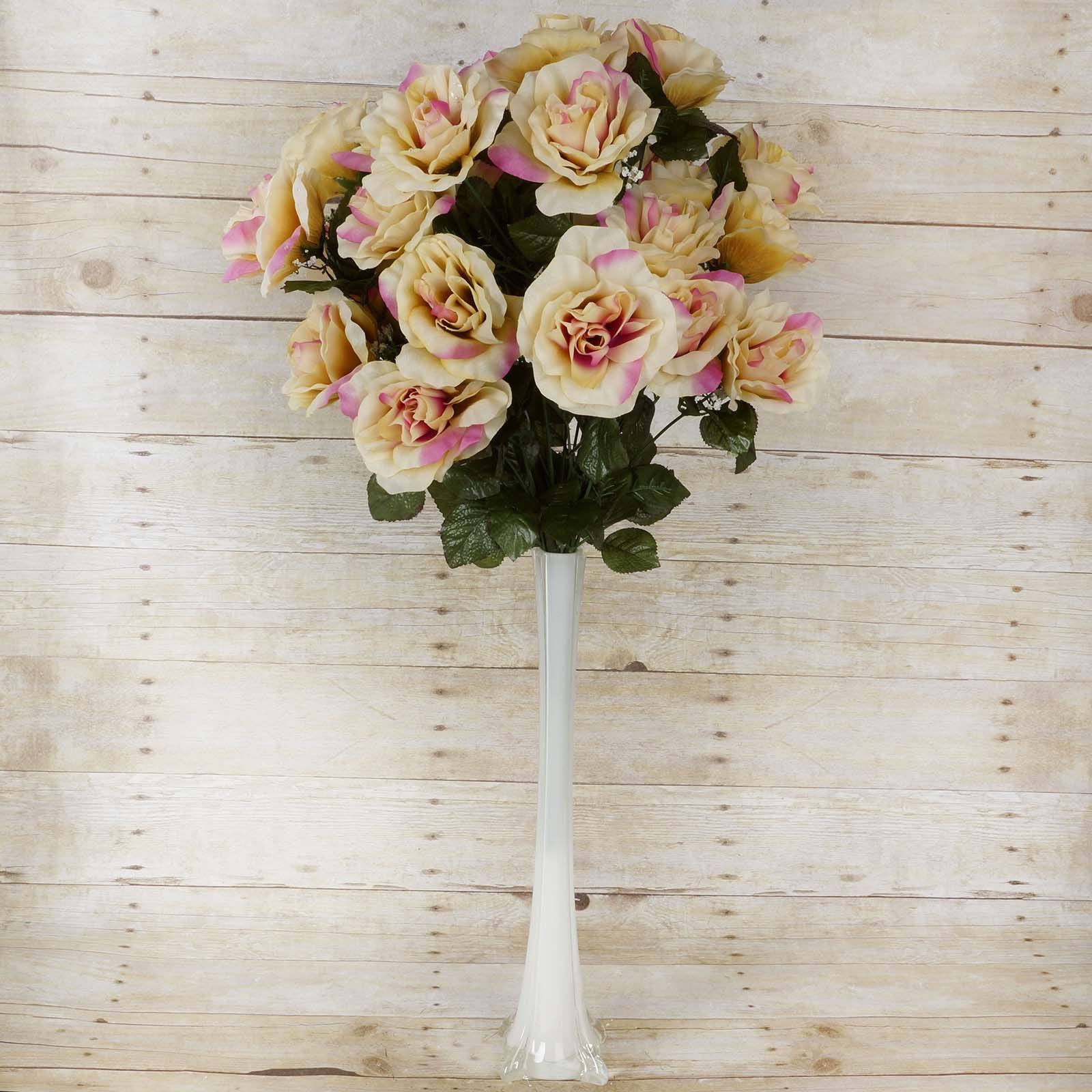 96 Artificial Springtime Champagne Giant Silk Open Roses Wedding ...