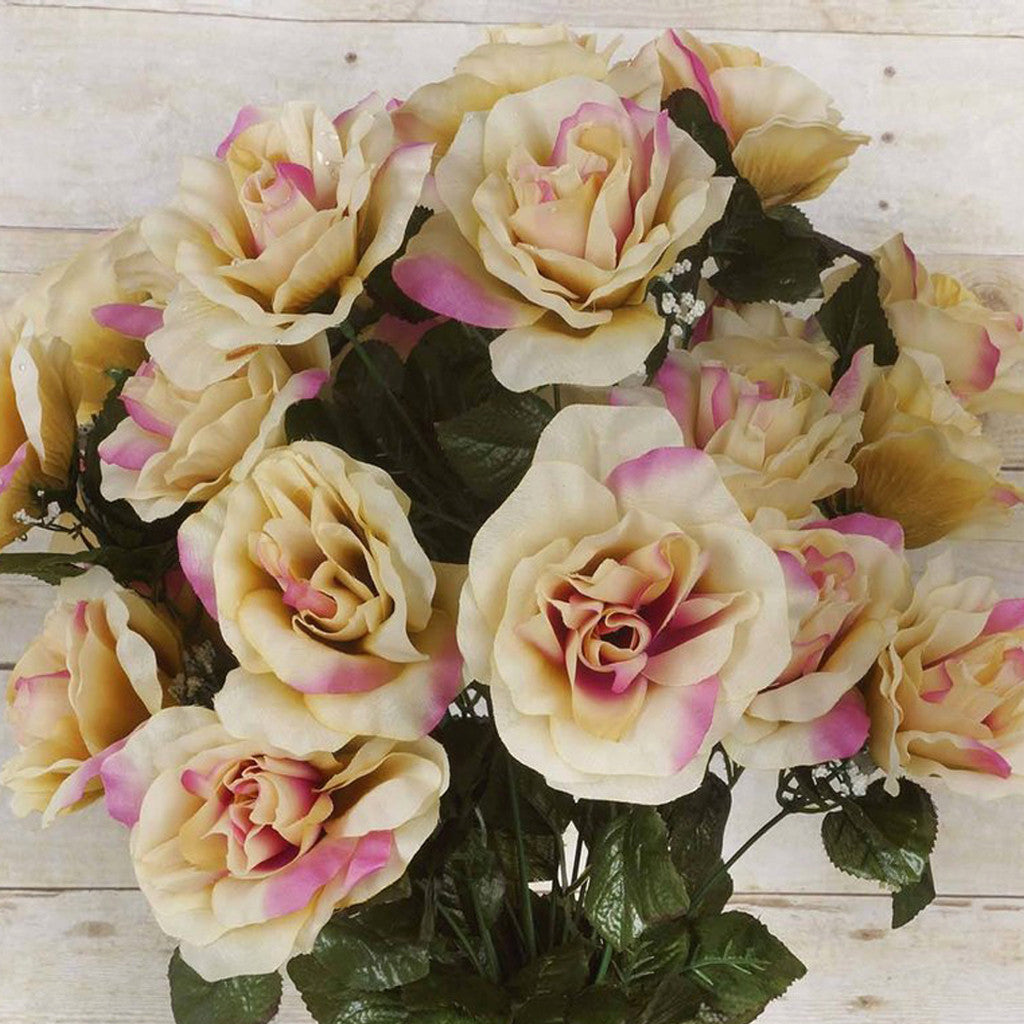 96 Artificial Giant Silk Open Roses Wedding Flower Vase Centerpiece Decor - Springtime Champagne