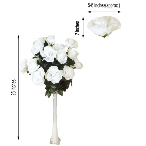 4 Bush 96 Pcs Cream Artificial Giant Silk Open Rose Flowers