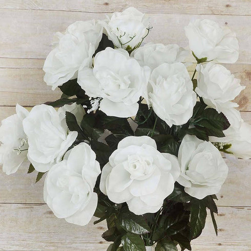 96 Artificial Giant Silk Open Roses - Cream