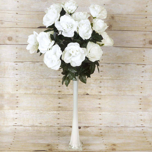 96 GIANT Silk Open Rose - Cream