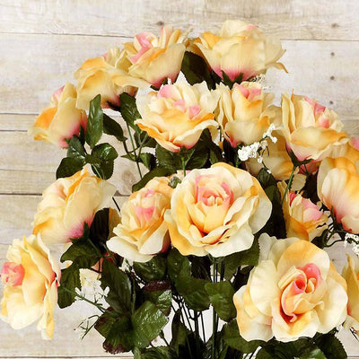 96 Artificial Giant Silk Open Roses - Crayon
