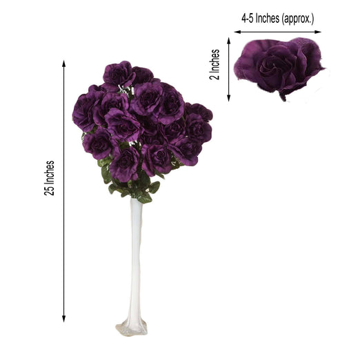 4 Bush 96 Pcs Eggplant Artificial Giant Silk Open Rose Flowers