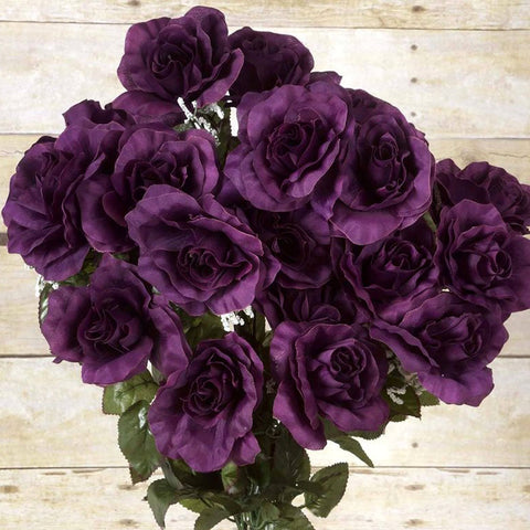96 Artificial Giant Silk Open Roses Wedding Flower Vase Centerpiece Decor - Eggplant