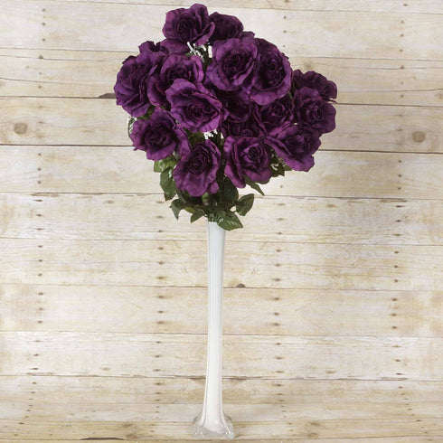 96 GIANT Silk Open Rose - Eggplant