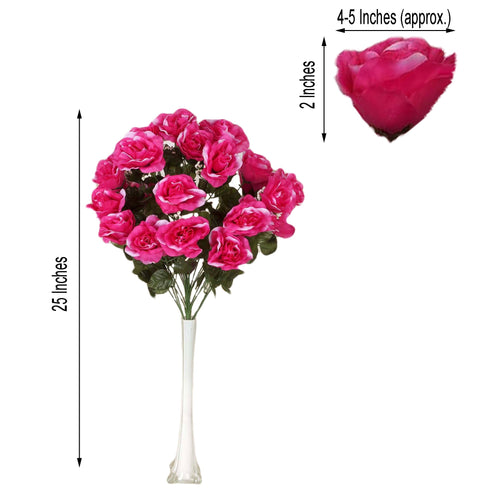 4 Bush 96 Pcs Fushia Artificial Giant Silk Open Rose Flowers
