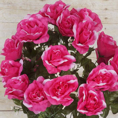 96 Artificial Giant Silk Open Roses - Fushia