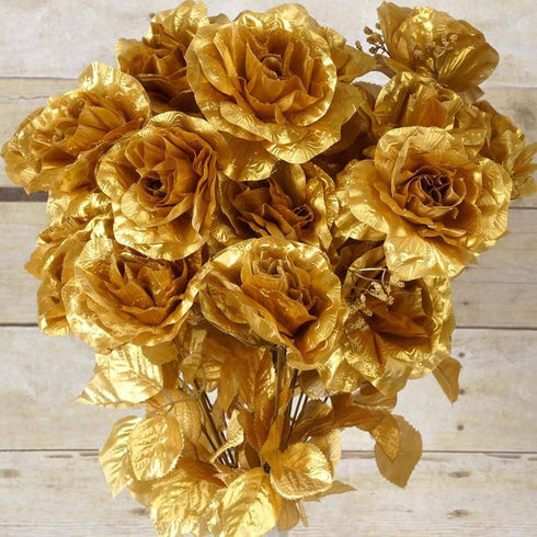 96 Artificial Giant Silk Open Roses - Gold