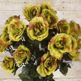 96 Artificial Giant Silk Open Roses Wedding Flower Vase Centerpiece Decor - Robin Hood Green