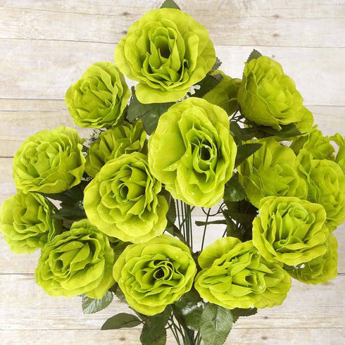 96 Artificial Giant Silk Open Roses - Lime