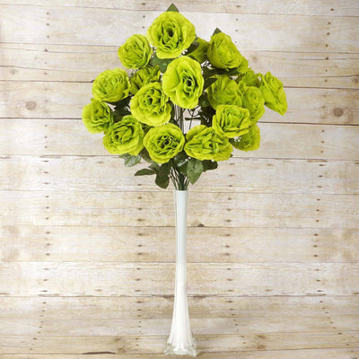 96 GIANT Silk Open Rose - Lime
