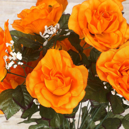 96 GIANT Silk Open Rose - Orange