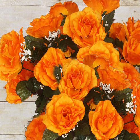 96 Artificial Giant Silk Open Roses - Orange