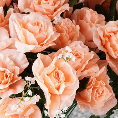 96 GIANT Silk Open Rose - Peach