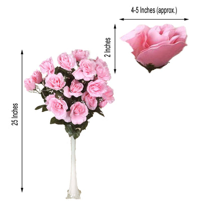 4 Bush 96 Pcs Pink Artificial Giant Silk Open Rose Flowers