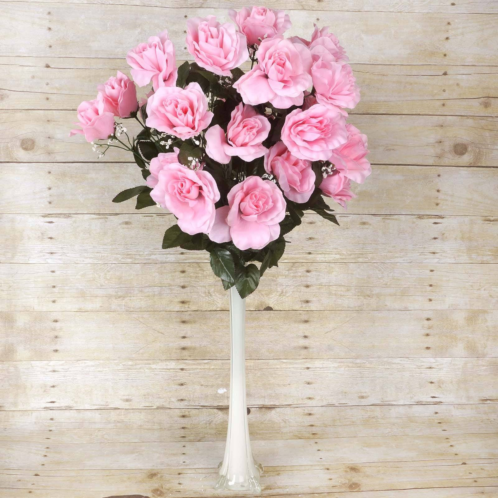 96 Artificial Pink Giant Silk Open Roses Wedding Bridal Bouquet ...