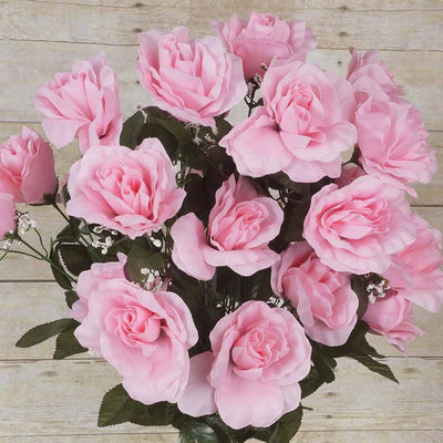 96 Artificial Giant Silk Open Roses - Pink