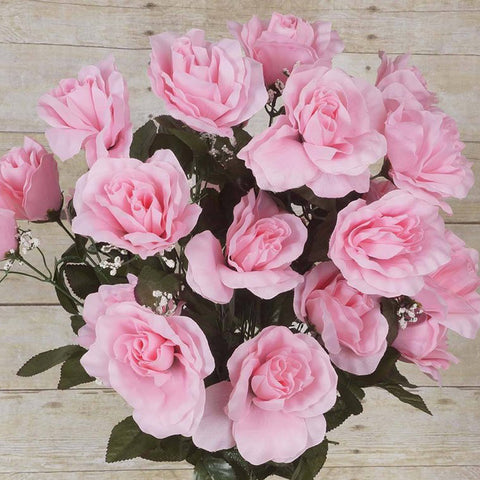 96 Artificial Giant Silk Open Roses Wedding Flower Vase Centerpiece Decor - Pink