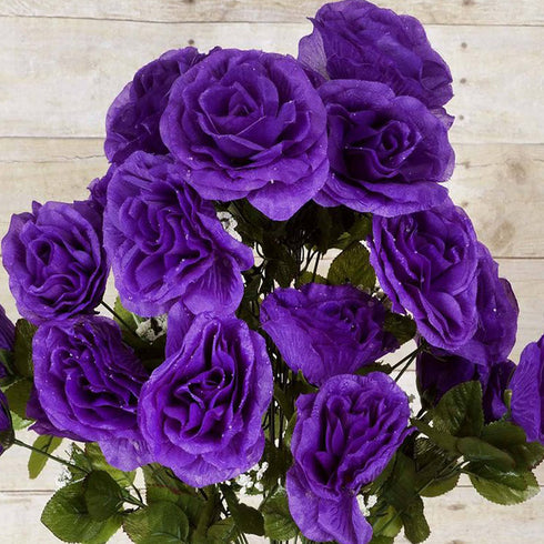 96 Artificial Giant Silk Open Roses - Purple