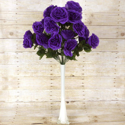 96 GIANT Silk Open Rose - Purple