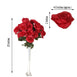 4 Bush 96 Pcs Red Artificial Giant Silk Open Rose Flowers