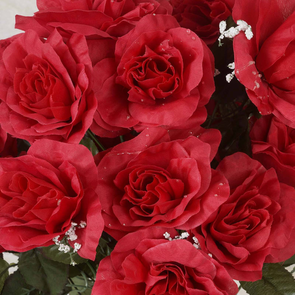 96 GIANT Silk Open Rose - Red