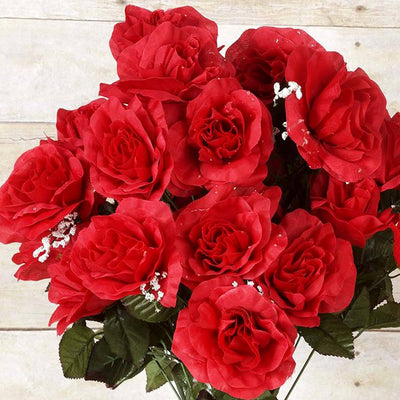 96 Artificial Giant Silk Open Roses - Red