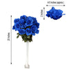 4 Bush 96 Pcs Royal Blue Artificial Giant Silk Open Rose Flowers